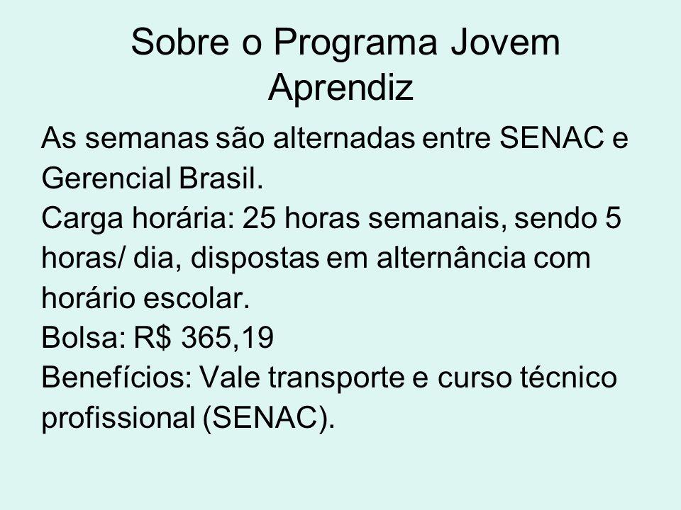 Sobre o Programa Jovem Aprendiz As semanas são alternadas entre SENAC e Gerencial Brasil. Carga horária: 25 horas semanais, sendo 5 horas/ dia, dispos