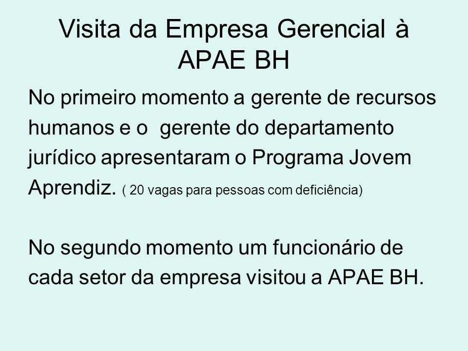 Visita da Empresa Gerencial à APAE BH No primeiro momento a gerente de recursos humanos e o gerente do departamento jurídico apresentaram o Programa J
