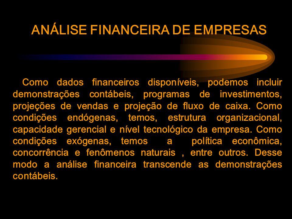 ANÁLISE FINANCEIRA DE EMPRESAS Como dados financeiros disponíveis, podemos incluir demonstrações contábeis, programas de investimentos, projeções de vendas e projeção de fluxo de caixa.