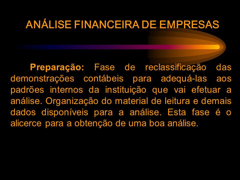 ANÁLISE FINANCEIRA DE EMPRESAS Preparação: Fase de reclassificação das demonstrações contábeis para adequá-las aos padrões internos da instituição que vai efetuar a análise.