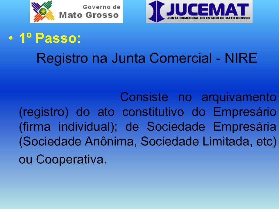 1º Passo: Registro na Junta Comercial - NIRE Consiste no arquivamento (registro) do ato constitutivo do Empresário (firma individual); de Sociedade Empresária (Sociedade Anônima, Sociedade Limitada, etc) ou Cooperativa.