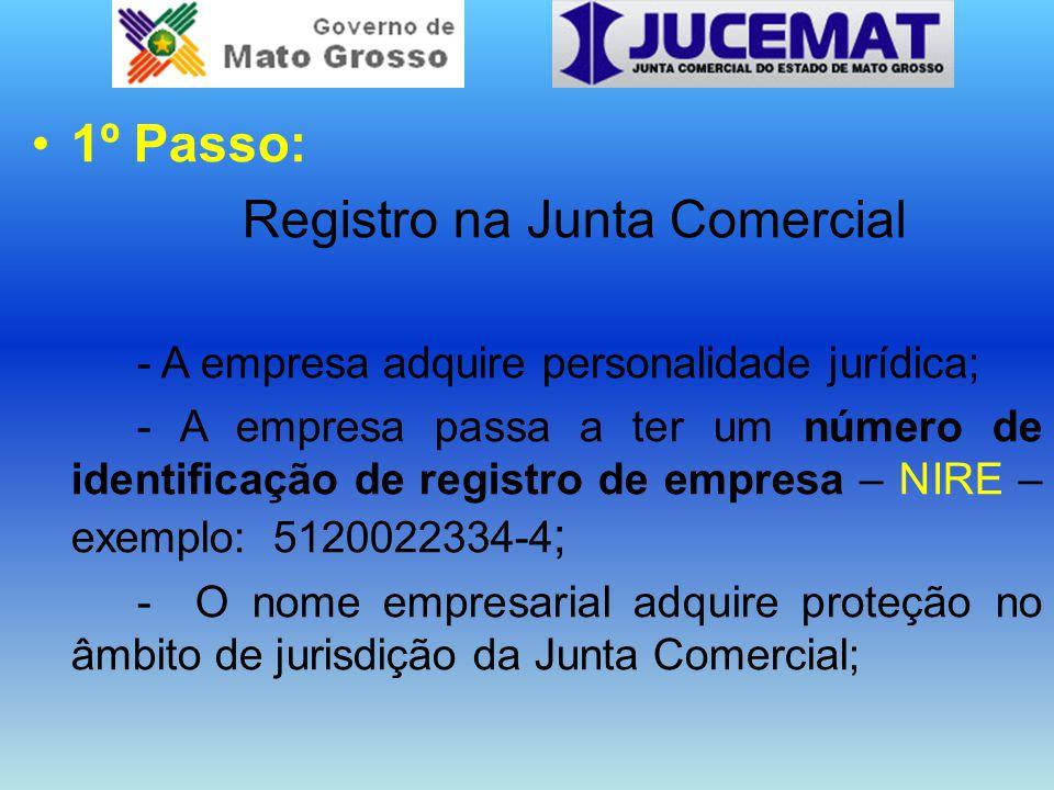 1º Passo: Registro na Junta Comercial - A empresa adquire personalidade jurídica; - A empresa passa a ter um número de identificação de registro de em