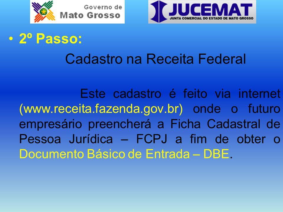2º Passo: Cadastro na Receita Federal Este cadastro é feito via internet (www.receita.fazenda.gov.br) onde o futuro empresário preencherá a Ficha Cada
