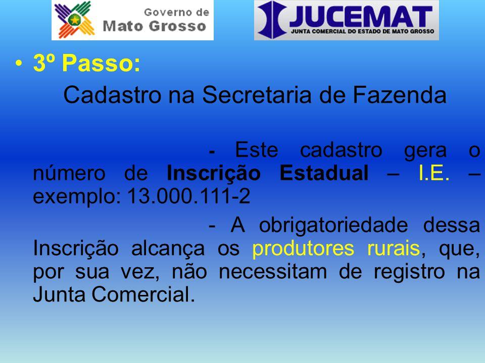 3º Passo: Cadastro na Secretaria de Fazenda - Este cadastro gera o número de Inscrição Estadual – I.E.