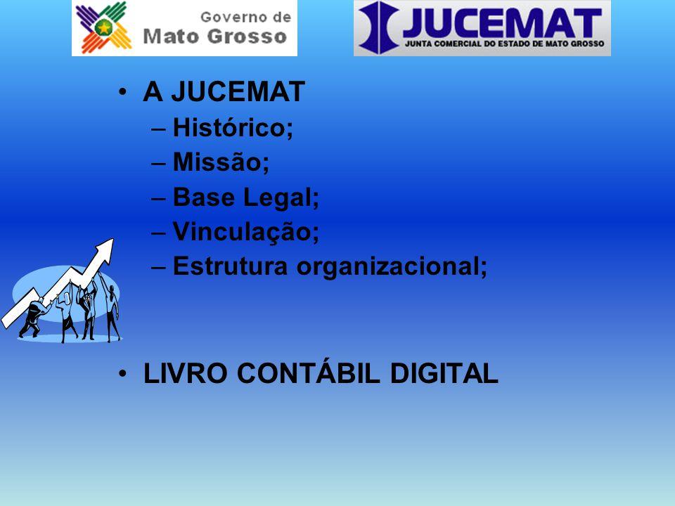 A JUCEMAT –Histórico; –Missão; –Base Legal; –Vinculação; –Estrutura organizacional; LIVRO CONTÁBIL DIGITAL