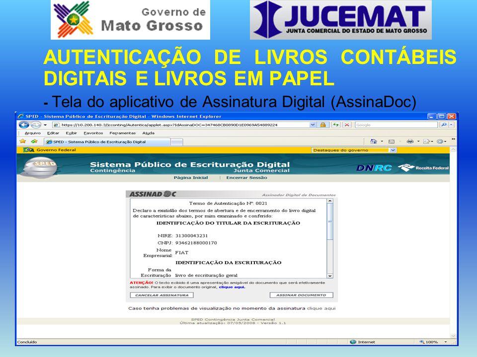 AUTENTICAÇÃO DE LIVROS CONTÁBEIS DIGITAIS E LIVROS EM PAPEL - Tela do aplicativo de Assinatura Digital (AssinaDoc)