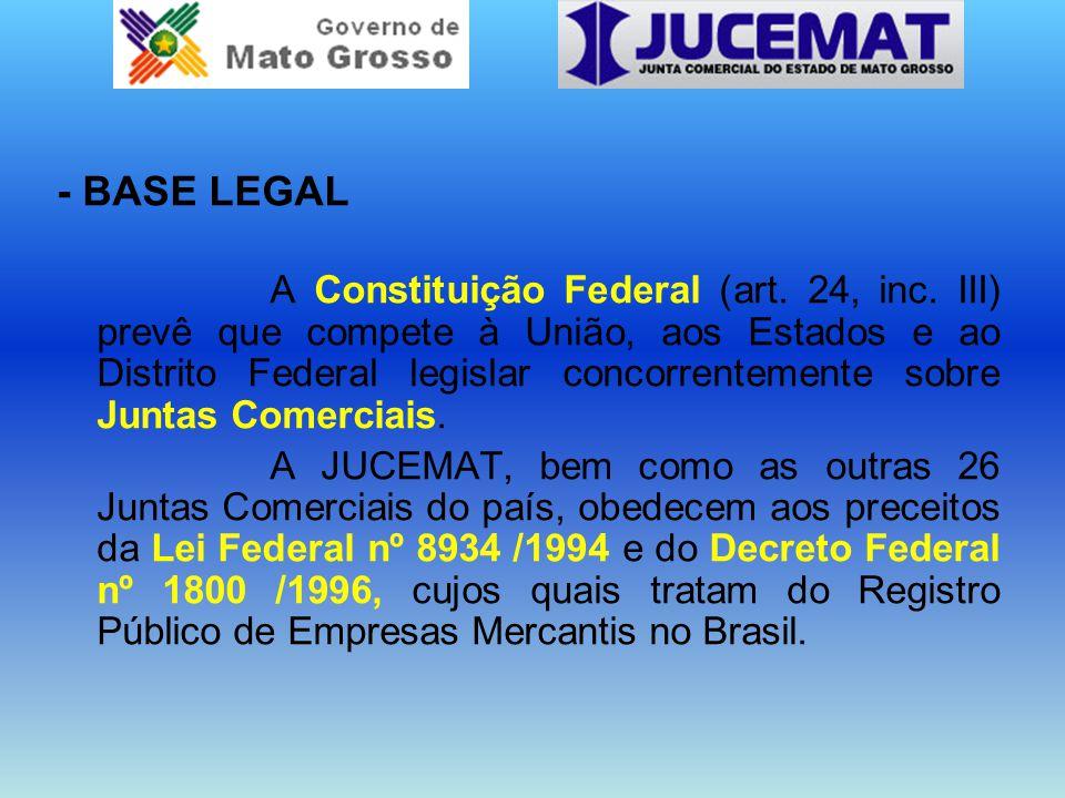 - BASE LEGAL A Constituição Federal (art. 24, inc. III) prevê que compete à União, aos Estados e ao Distrito Federal legislar concorrentemente sobre J