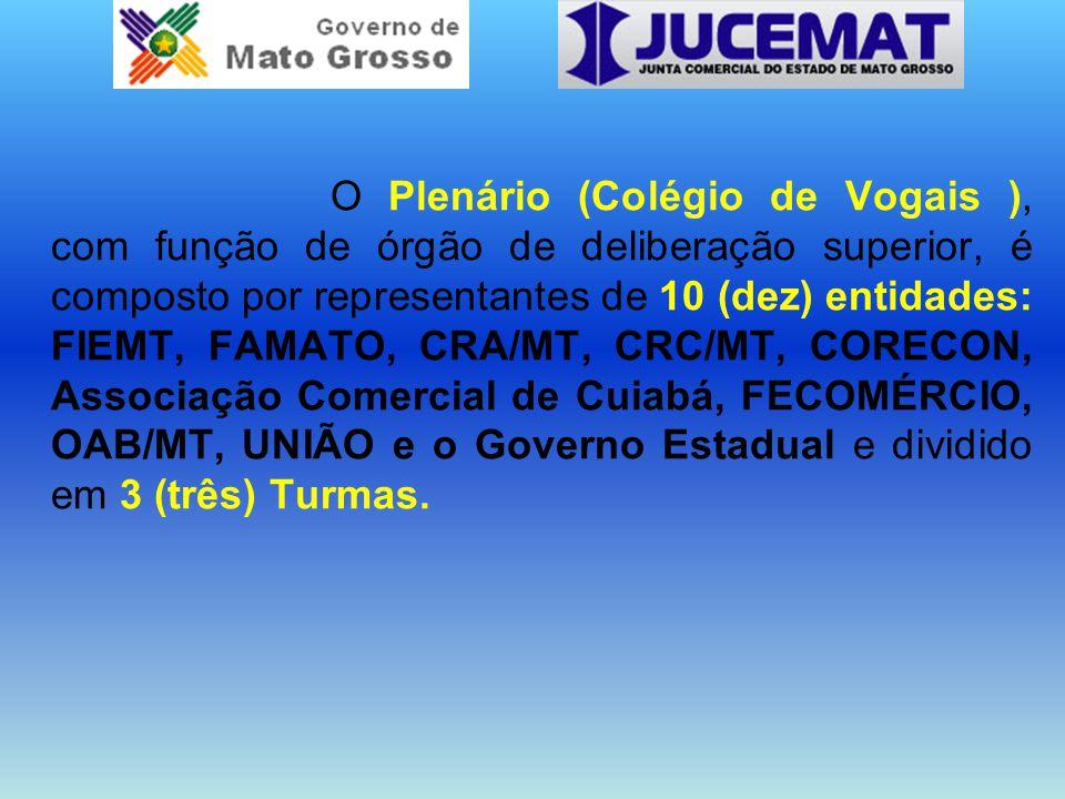 O Plenário (Colégio de Vogais ), com função de órgão de deliberação superior, é composto por representantes de 10 (dez) entidades: FIEMT, FAMATO, CRA/MT, CRC/MT, CORECON, Associação Comercial de Cuiabá, FECOMÉRCIO, OAB/MT, UNIÃO e o Governo Estadual e dividido em 3 (três) Turmas.