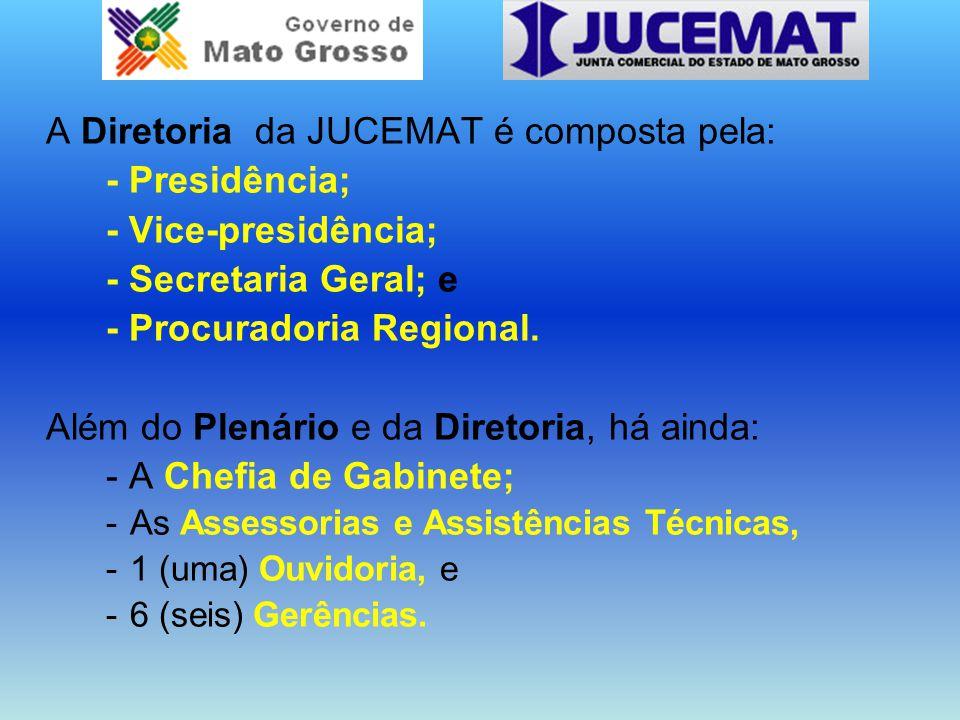 A Diretoria da JUCEMAT é composta pela: - Presidência; - Vice-presidência; - Secretaria Geral; e - Procuradoria Regional. Além do Plenário e da Direto