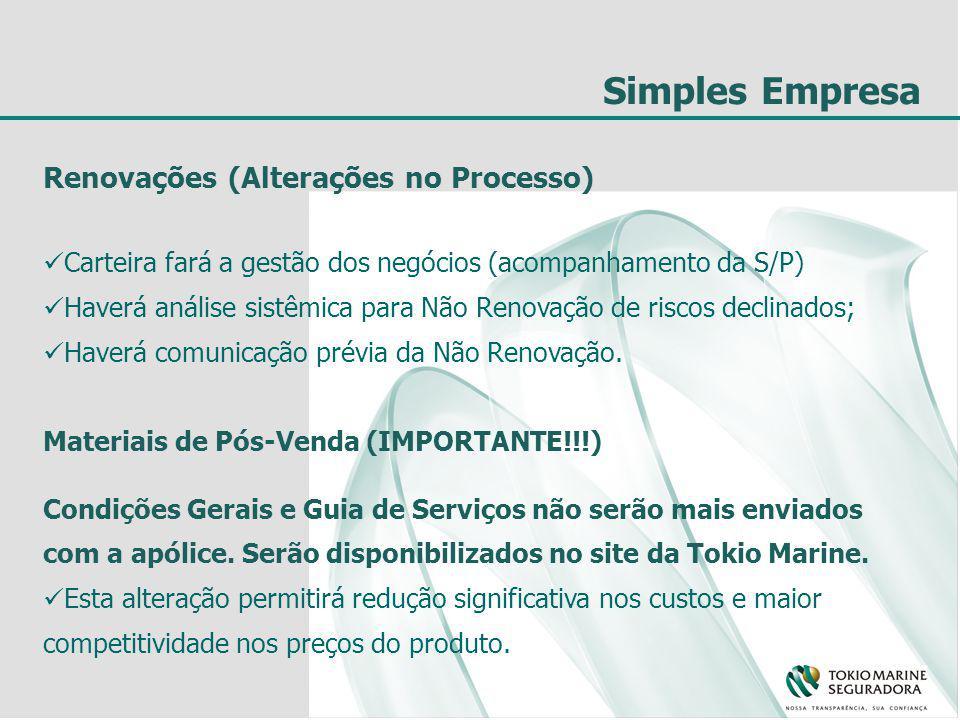 Simples Empresa Renovações (Alterações no Processo) Carteira fará a gestão dos negócios (acompanhamento da S/P) Haverá análise sistêmica para Não Renovação de riscos declinados; Haverá comunicação prévia da Não Renovação.