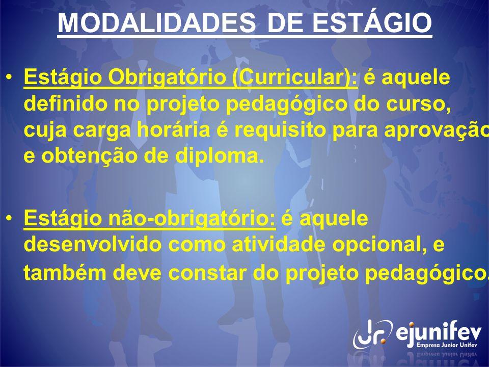 MODALIDADES DE ESTÁGIO Estágio Obrigatório (Curricular): é aquele definido no projeto pedagógico do curso, cuja carga horária é requisito para aprovação e obtenção de diploma.