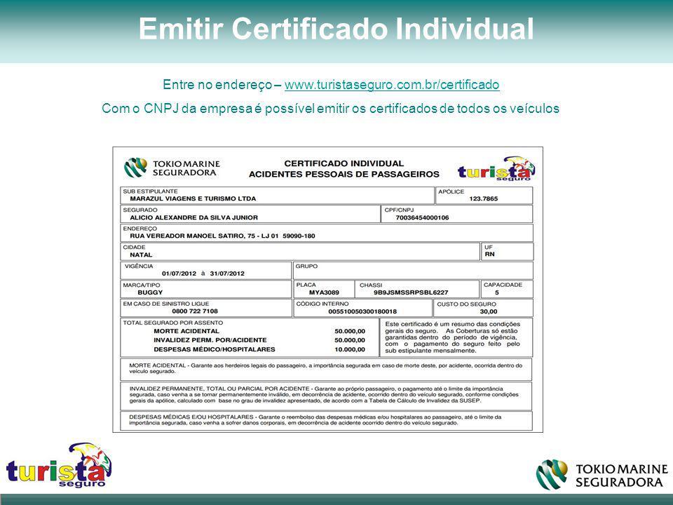 Emitir Certificado Individual Entre no endereço – www.turistaseguro.com.br/certificadowww.turistaseguro.com.br/certificado Com o CNPJ da empresa é pos