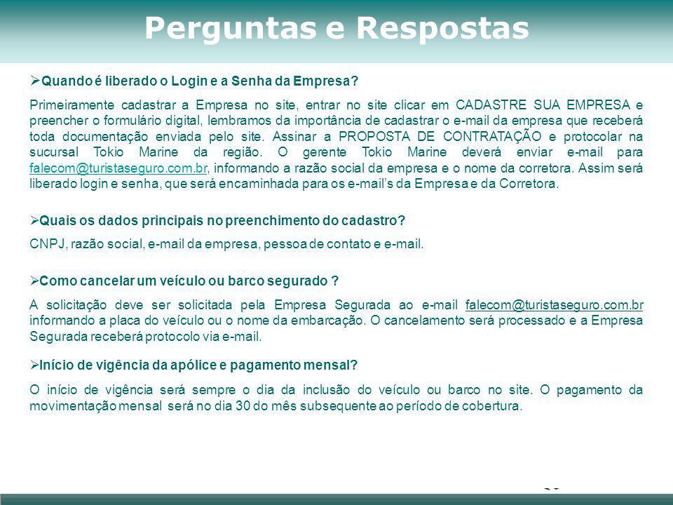 Perguntas e Respostas  Quando é liberado o Login e a Senha da Empresa? Primeiramente cadastrar a Empresa no site, entrar no site clicar em CADASTRE S