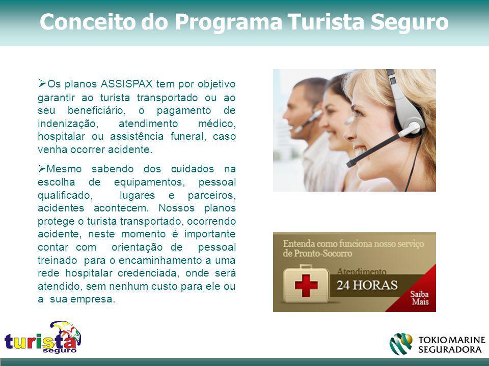 Conceito do Programa Turista Seguro  Os planos ASSISPAX tem por objetivo garantir ao turista transportado ou ao seu beneficiário, o pagamento de inde