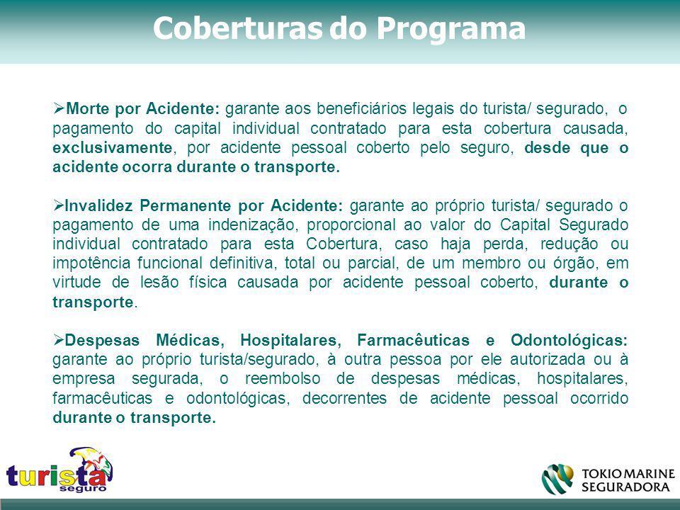 Coberturas do Programa  Morte por Acidente: garante aos beneficiários legais do turista/ segurado, o pagamento do capital individual contratado para