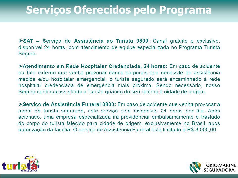 Serviços Oferecidos pelo Programa  SAT – Serviço de Assistência ao Turista 0800: Canal gratuito e exclusivo, disponível 24 horas, com atendimento de