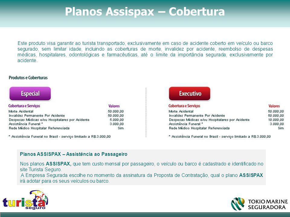 Planos Assispax – Cobertura Planos ASSISPAX – Assistência ao Passageiro Nos planos ASSISPAX, que tem custo mensal por passageiro, o veículo ou barco é