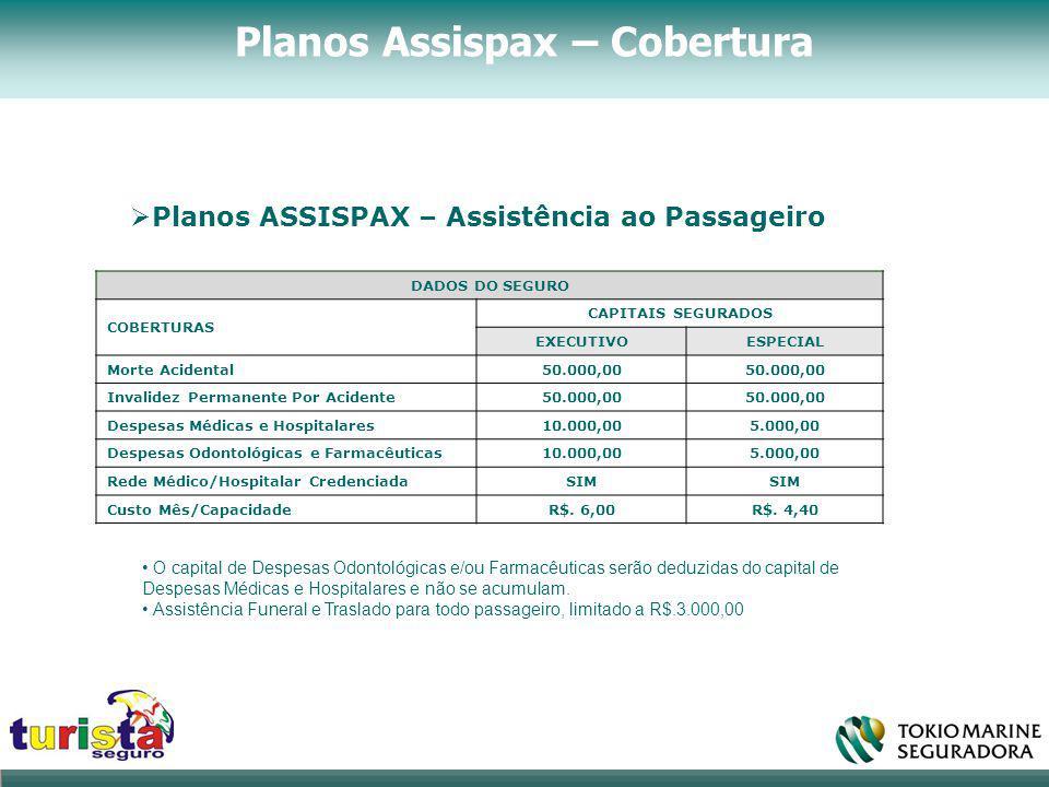 ..  Planos ASSISPAX – Assistência ao Passageiro. DADOS DO SEGURO COBERTURAS CAPITAIS SEGURADOS EXECUTIVOESPECIAL Morte Acidental50.000,00 Invalidez P