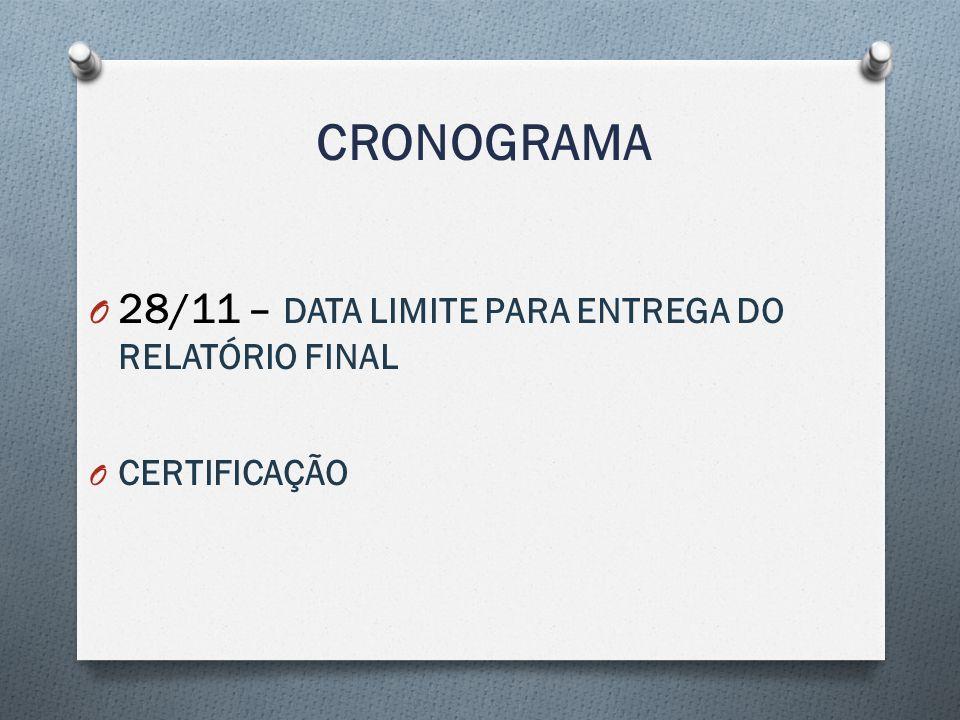 CRONOGRAMA O 28/11 – DATA LIMITE PARA ENTREGA DO RELATÓRIO FINAL O CERTIFICAÇÃO