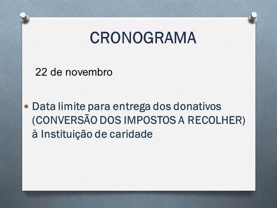 CRONOGRAMA 22 de novembro Data limite para entrega dos donativos (CONVERSÃO DOS IMPOSTOS A RECOLHER) à Instituição de caridade