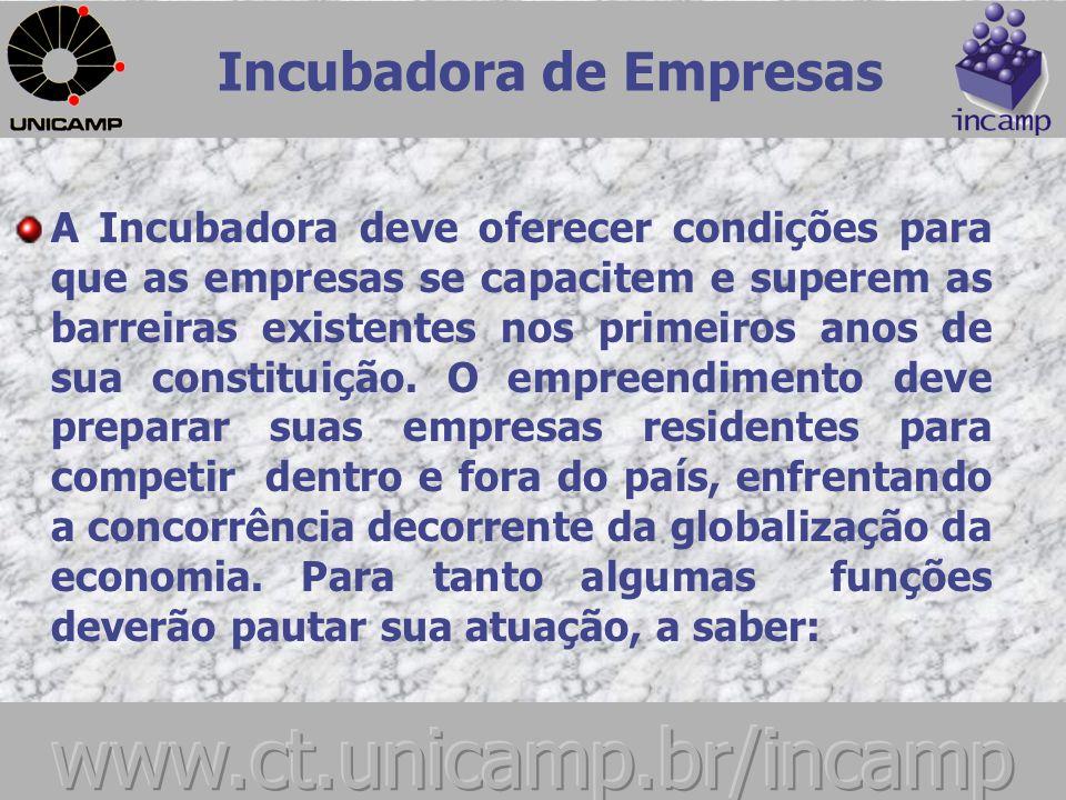Incubadora de Empresas FUNÇÕES DA INCUBADORA