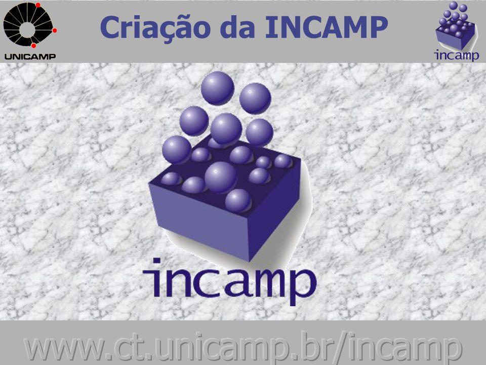Criação da INCAMP Meados da década de 70, surge na Unicamp, a Companhia de Desenvolvimento Tecnológico - CODETEC, primeira incubadora nacional.