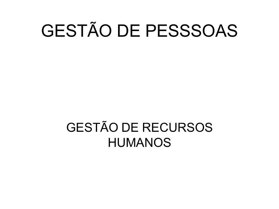 GESTÃO DE PESSSOAS GESTÃO DE RECURSOS HUMANOS