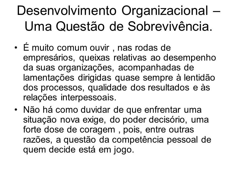 Desenvolvimento Organizacional – Uma Questão de Sobrevivência. É muito comum ouvir, nas rodas de empresários, queixas relativas ao desempenho da suas