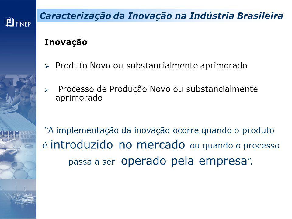 """Inovação  Produto Novo ou substancialmente aprimorado  Processo de Produção Novo ou substancialmente aprimorado """"A implementação da inovação ocorre"""