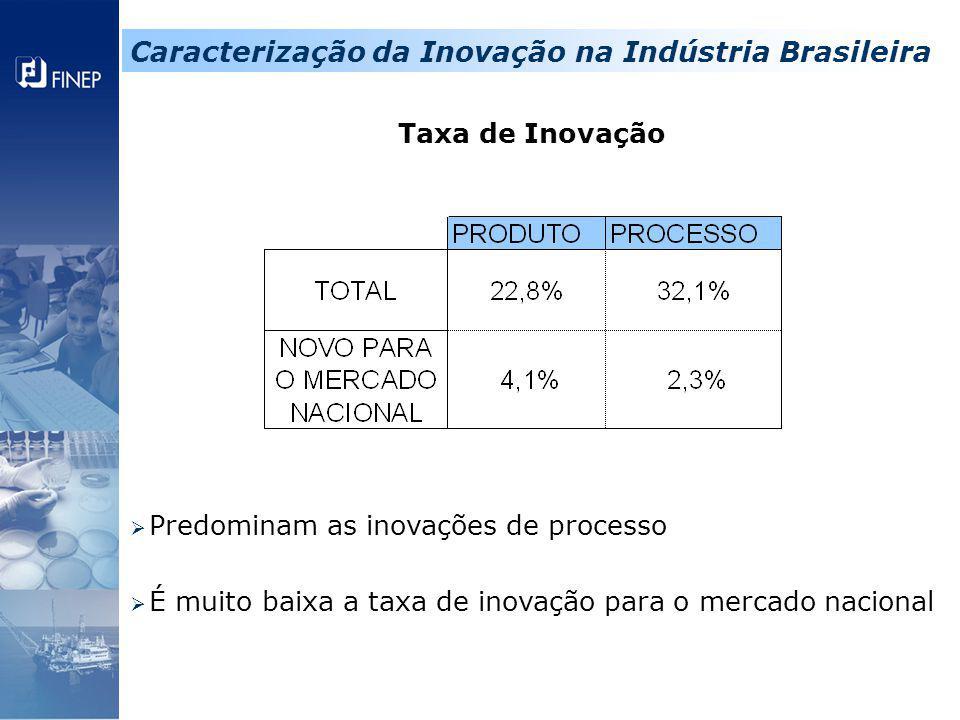 Taxa de Inovação  Predominam as inovações de processo  É muito baixa a taxa de inovação para o mercado nacional Caracterização da Inovação na Indúst