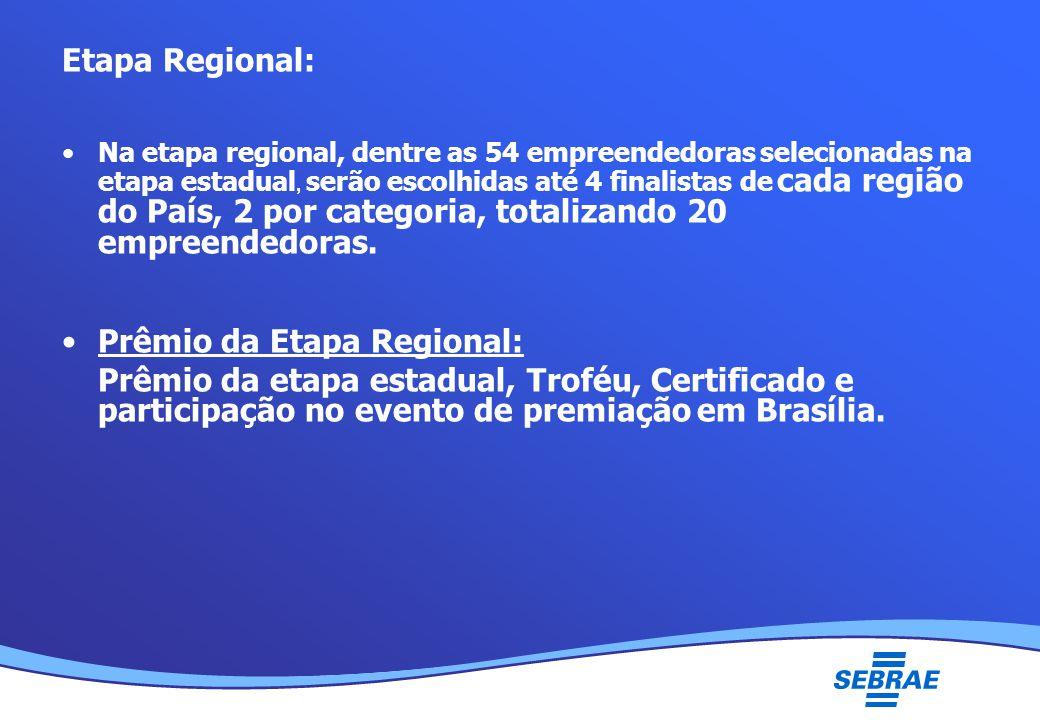 Lei Geral da Micro e Pequena Empresa UMC Etapa Regional: Na etapa regional, dentre as 54 empreendedoras selecionadas na etapa estadual, serão escolhidas até 4 finalistas de cada região do País, 2 por categoria, totalizando 20 empreendedoras.