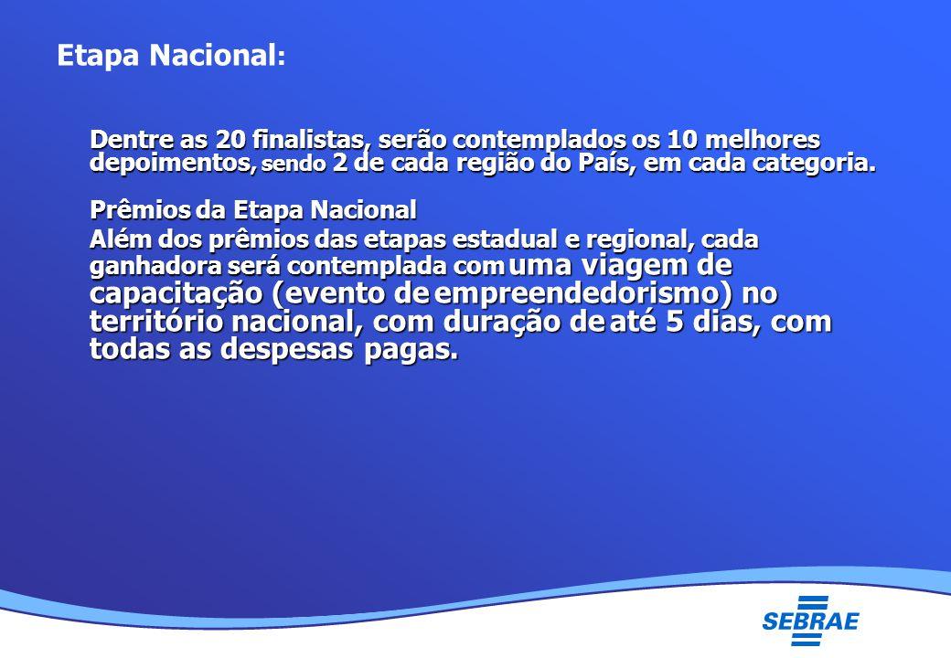 Lei Geral da Micro e Pequena Empresa UMC Etapa Nacional : Dentre as 20 finalistas, serão contemplados os 10 melhores depoimentos, sendo 2 de cada região do País, em cada categoria.