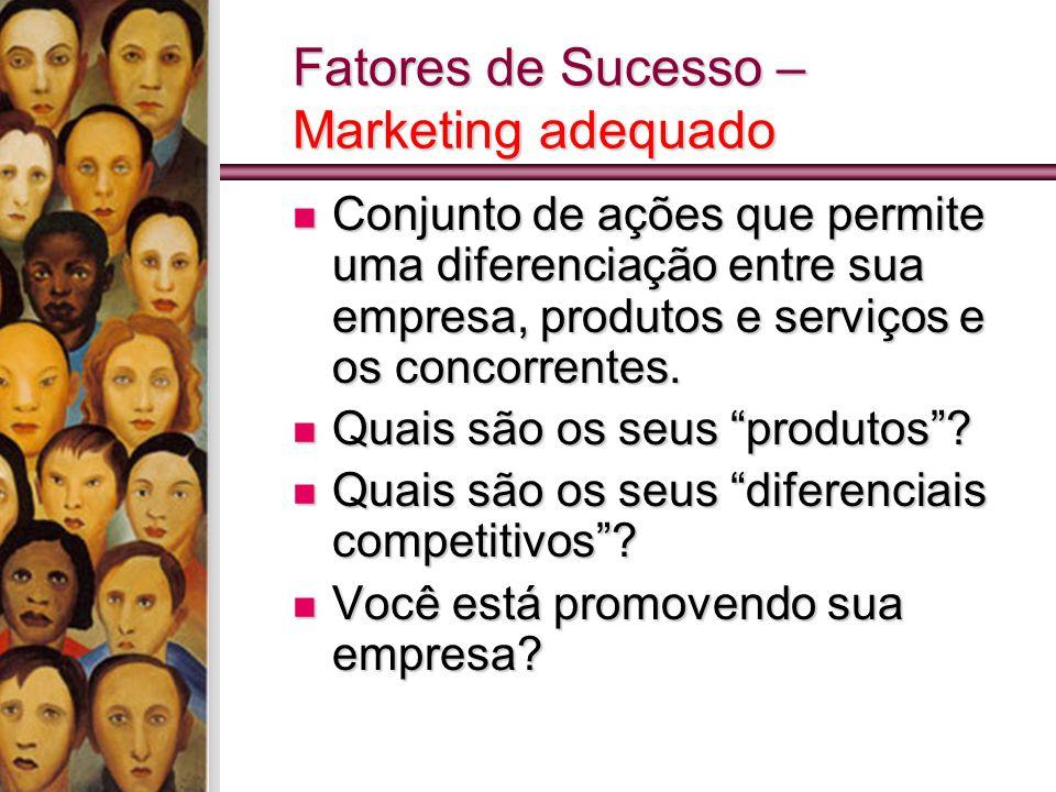 Fatores de Sucesso – Marketing adequado Conjunto de ações que permite uma diferenciação entre sua empresa, produtos e serviços e os concorrentes. Conj