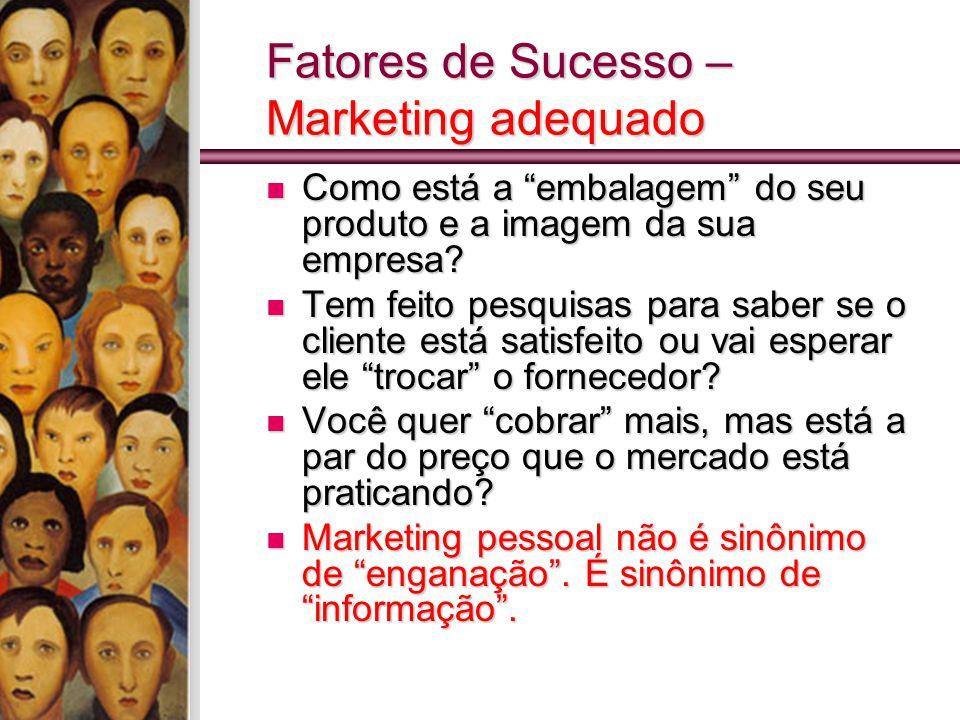 Fatores de Sucesso – Marketing adequado Como está a embalagem do seu produto e a imagem da sua empresa.