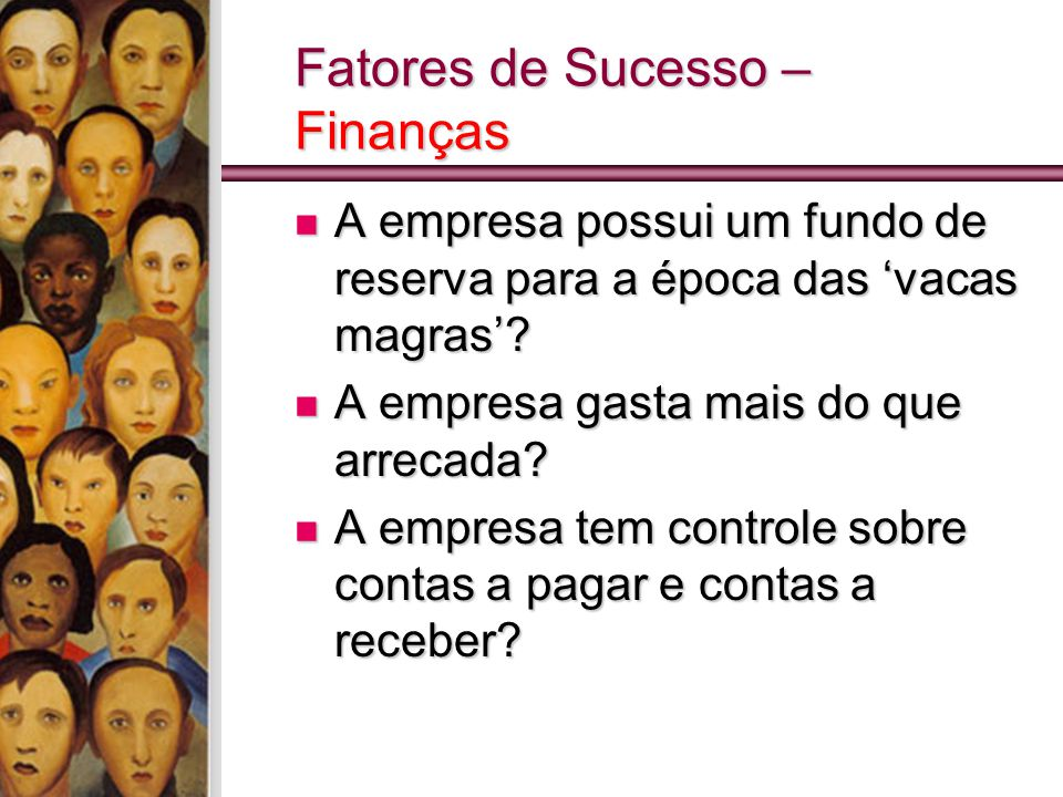 Fatores de Sucesso – Finanças A empresa possui um fundo de reserva para a época das 'vacas magras'? A empresa possui um fundo de reserva para a época