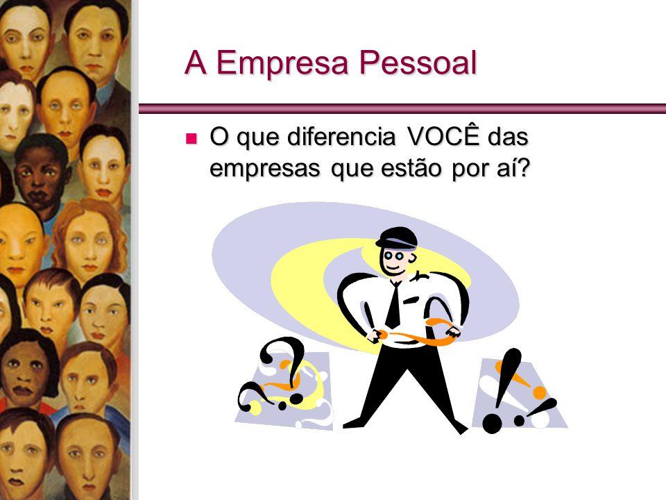 A Empresa Pessoal O que diferencia VOCÊ das empresas que estão por aí? O que diferencia VOCÊ das empresas que estão por aí?
