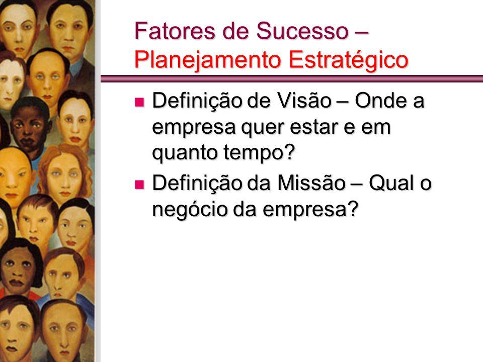 Fatores de Sucesso – Planejamento Estratégico Definição de Visão – Onde a empresa quer estar e em quanto tempo.