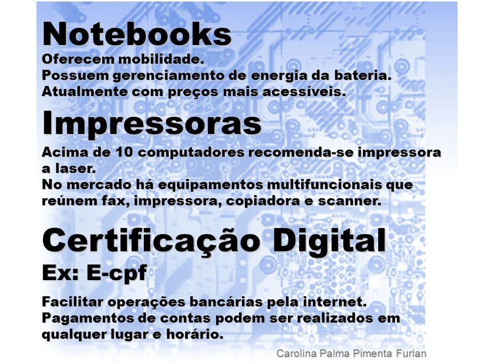 Carolina Palma Pimenta Furlan Notebooks Oferecem mobilidade.