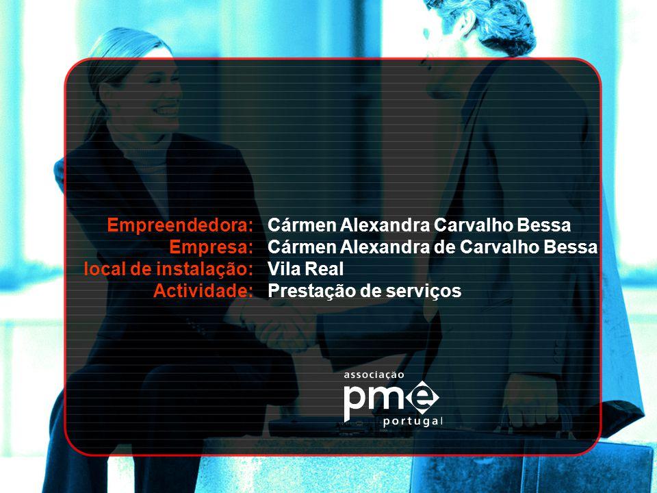 Empreendedora: Empresa: local de instalação: Actividade: Cármen Alexandra Carvalho Bessa Cármen Alexandra de Carvalho Bessa Vila Real Prestação de ser