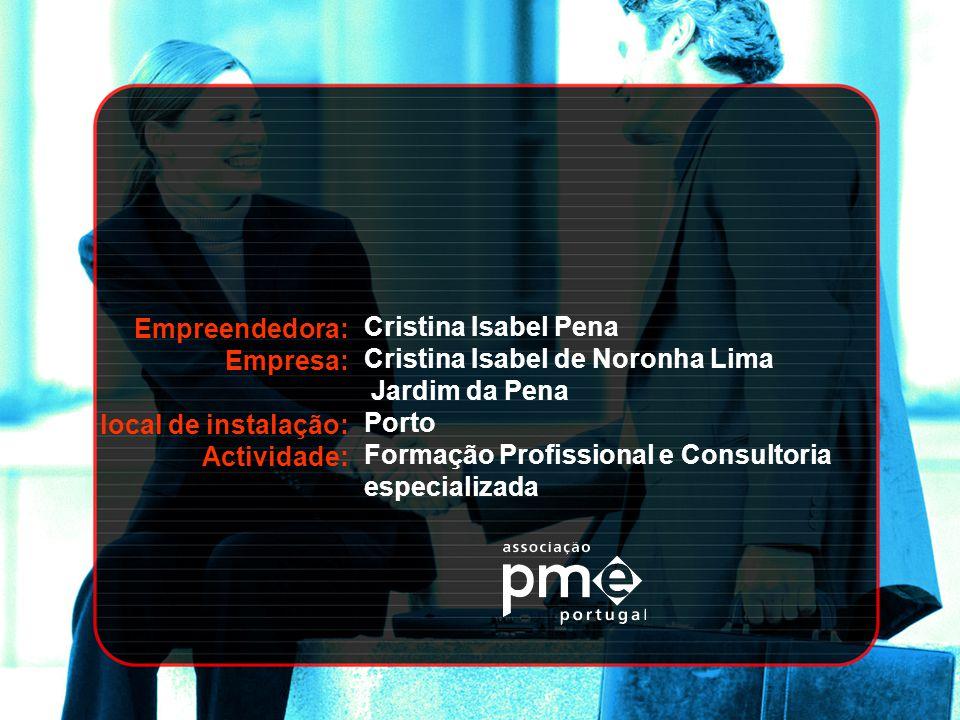 Empreendedora: Empresa: local de instalação: Actividade: Cristina Isabel Pena Cristina Isabel de Noronha Lima Jardim da Pena Porto Formação Profission