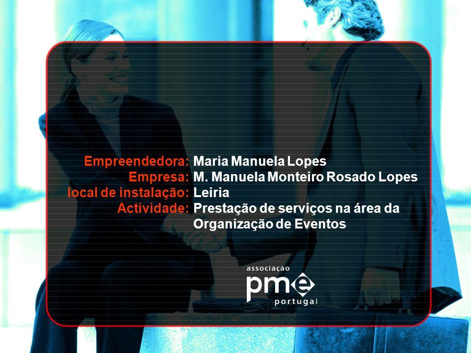 Empreendedora: Empresa: local de instalação: Actividade: Maria Manuela Lopes M. Manuela Monteiro Rosado Lopes Leiria Prestação de serviços na área da