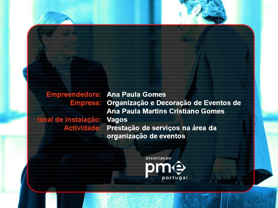 Empreendedora: Empresa: local de instalação: Actividade: Ana Paula Gomes Organização e Decoração de Eventos de Ana Paula Martins Cristiano Gomes Vagos