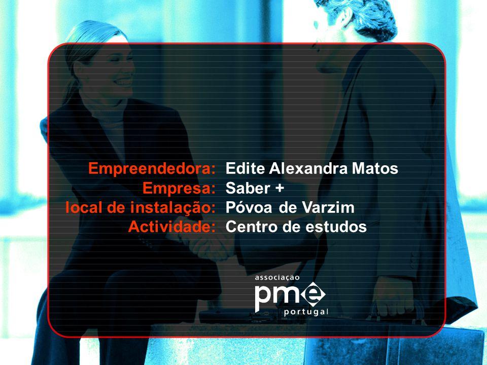 Empreendedora: Empresa: local de instalação: Actividade: Maria Manuela Lopes M.