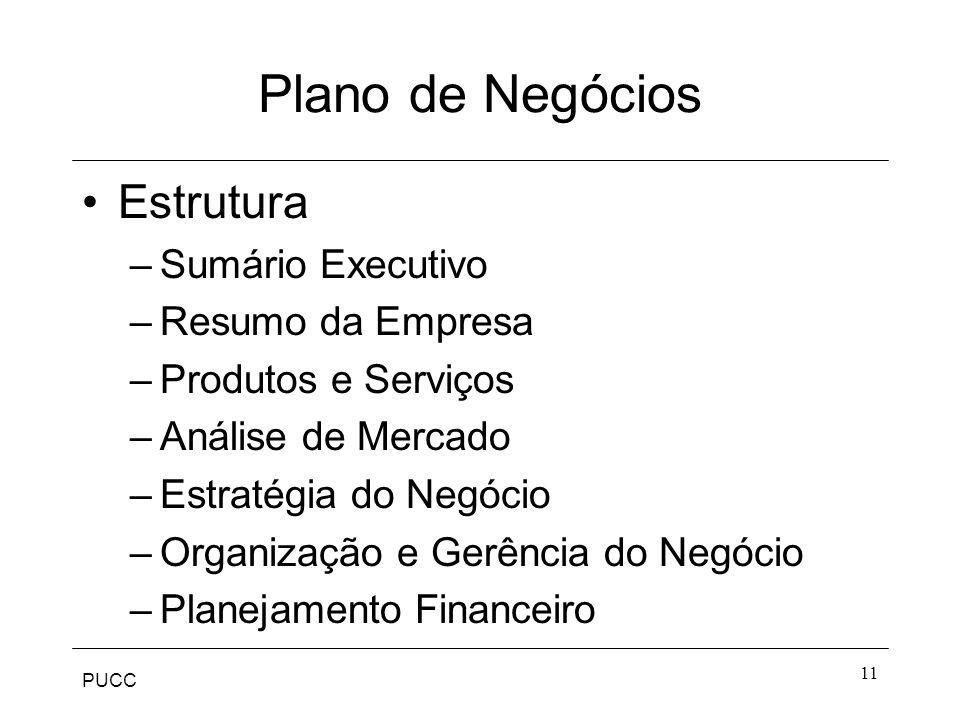 PUCC 11 Plano de Negócios Estrutura –Sumário Executivo –Resumo da Empresa –Produtos e Serviços –Análise de Mercado –Estratégia do Negócio –Organização