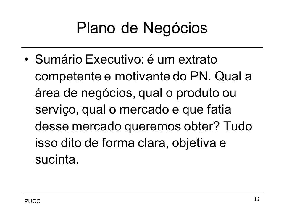 PUCC 12 Plano de Negócios Sumário Executivo: é um extrato competente e motivante do PN. Qual a área de negócios, qual o produto ou serviço, qual o mer