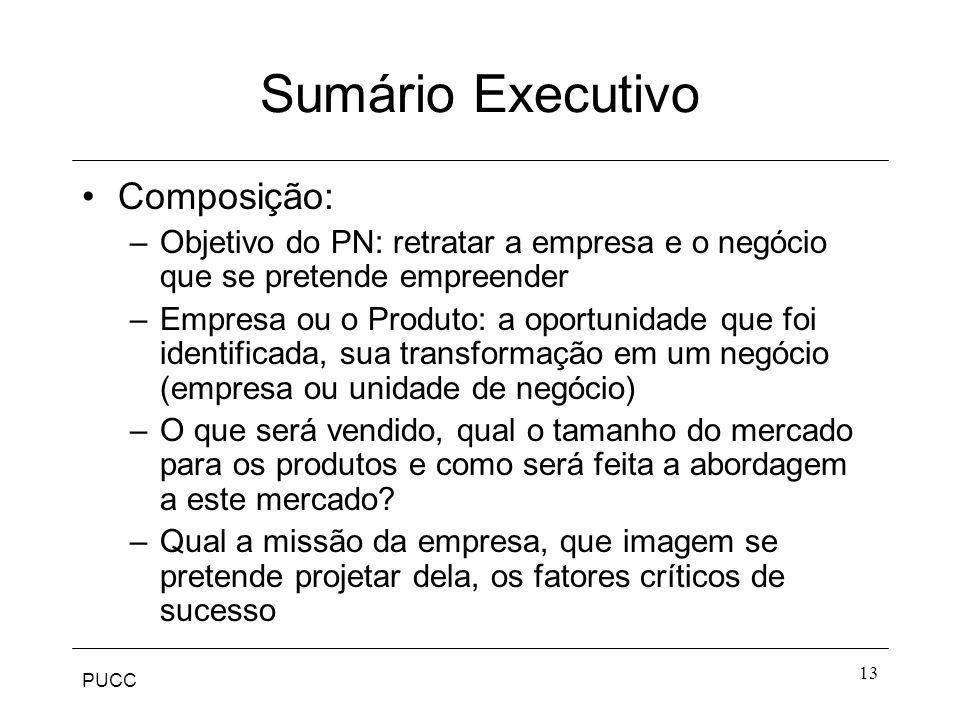 PUCC 13 Sumário Executivo Composição: –Objetivo do PN: retratar a empresa e o negócio que se pretende empreender –Empresa ou o Produto: a oportunidade