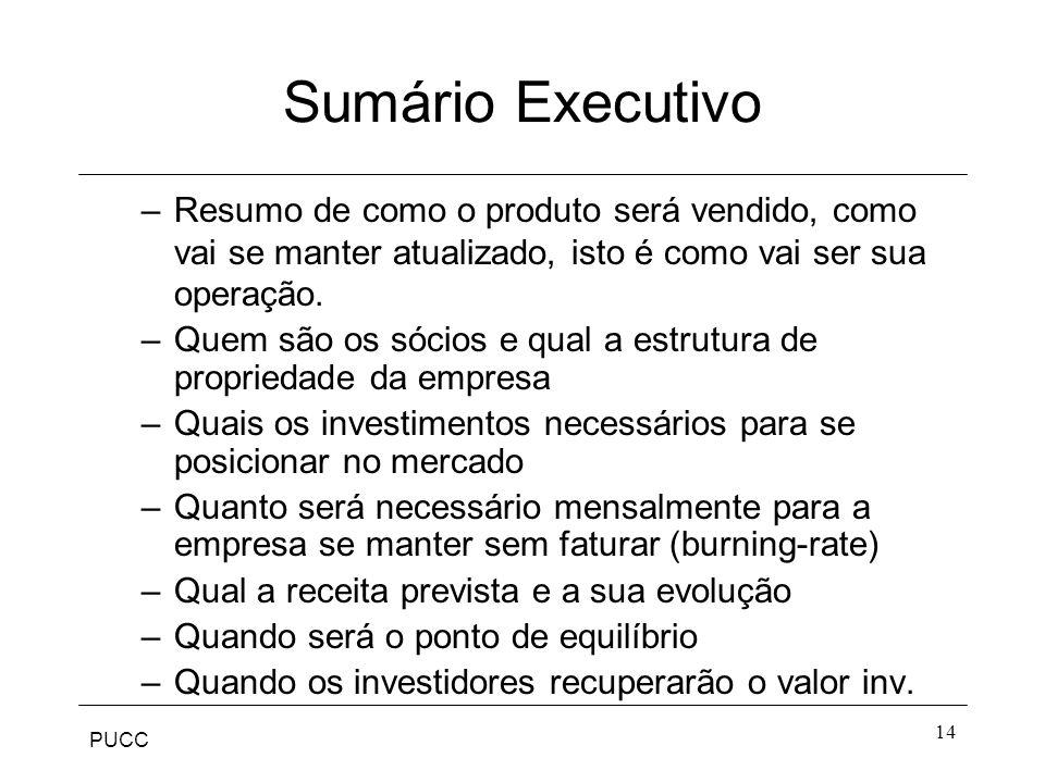 PUCC 14 Sumário Executivo –Resumo de como o produto será vendido, como vai se manter atualizado, isto é como vai ser sua operação. –Quem são os sócios
