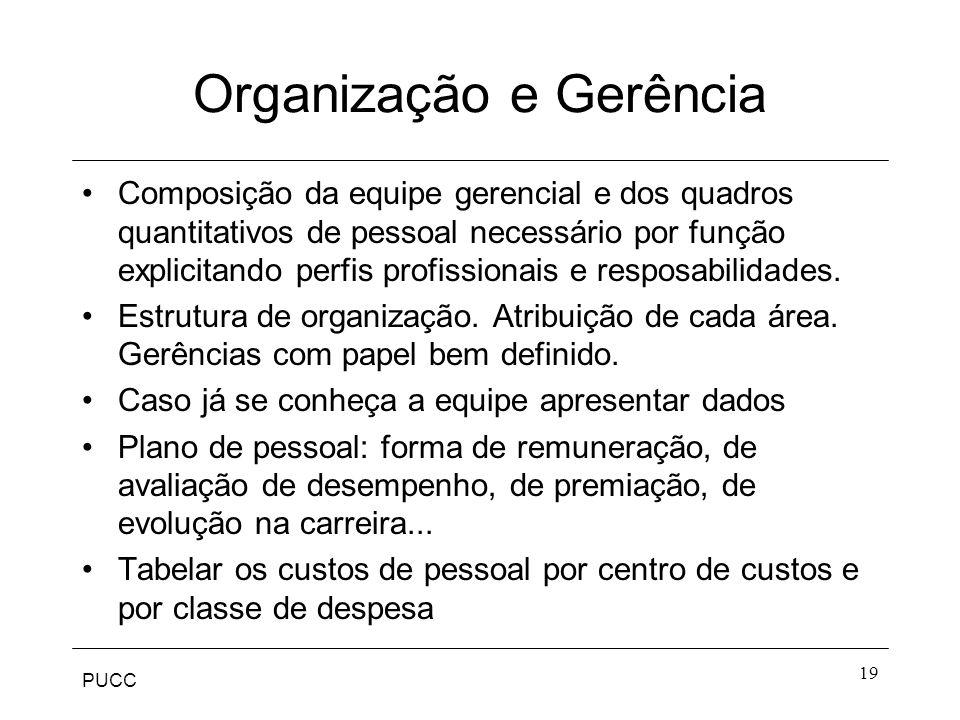 PUCC 19 Organização e Gerência Composição da equipe gerencial e dos quadros quantitativos de pessoal necessário por função explicitando perfis profiss
