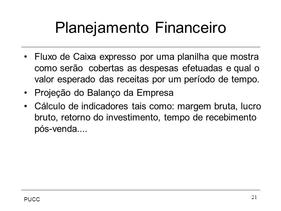 PUCC 21 Planejamento Financeiro Fluxo de Caixa expresso por uma planilha que mostra como serão cobertas as despesas efetuadas e qual o valor esperado
