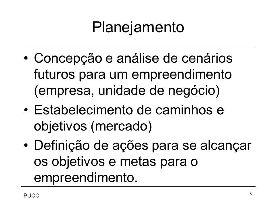 PUCC 9 Planejamento Concepção e análise de cenários futuros para um empreendimento (empresa, unidade de negócio) Estabelecimento de caminhos e objetiv